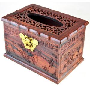 大红酸枝开盖竹节抽纸盒 18  12.5  11.5