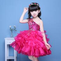 儿童主持人模特走秀演出服蓬蓬裙 女童公主裙宝宝生日晚礼服亮片 枚红色