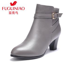 富贵鸟女鞋 秋新款踝靴粗跟短靴女 高跟女靴马丁靴女冬靴