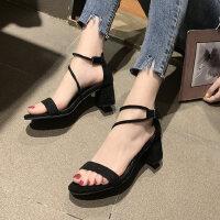 户外凉鞋女韩版休闲时装时尚百搭一字带中粗跟鞋