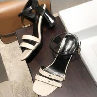 时尚法式少女高跟鞋凉鞋女仙女风ins潮新款粗跟一字带女鞋子