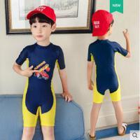 儿童泳衣男童连体中大童长短袖沙滩防晒男孩游泳衣宝宝可爱泳装