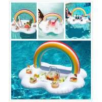 充气彩虹云朵冰盘冰镇沙拉盘水上饮料杯托盘泳池派对用品拍照道具