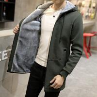 冬季中长款加绒加厚风衣男韩版修身学生潮流大码帅气外套夹克连帽
