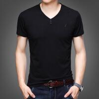 男士短袖T恤V领薄款夏季新款中年时尚宽松鸡心领打底衫爸爸装上衣