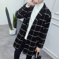 秋季男士格子中长款毛呢大衣韩版修身风衣加肥加大码翻领呢子外套 黑色