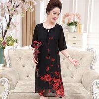 18夏季常规雪纺中老年女圆领新款时尚品牌双层女装连衣裙