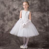 女童公主裙花童婚纱裙白色儿童礼服钢琴演出服生日走秀礼服裙春夏