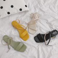 凉鞋女平底百搭时尚新款平跟夏季糖果色露趾 一字扣仙女风沙滩女鞋