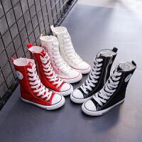�和�帆布鞋高筒男童女童鞋高�托蓍e布鞋�r尚街舞鞋