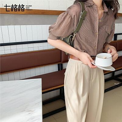 七格格条纹衬衫女设计感小众2019新款夏季韩版宽松百搭泡泡袖上衣