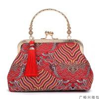 女士包包手提包名媛新款中国风复古丝绸刺绣绸手提斜挎妈妈包配旗袍宴会女包小斜挎包女