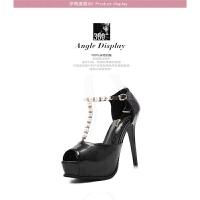 超高跟鞋夏新款韩版防水台细跟性感串珠鱼嘴鞋12cm夜店高跟鞋