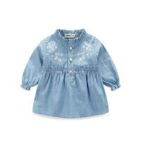 春装童装岁牛仔裙 婴儿长袖女童连衣裙女宝宝儿童公主裙子秋 蓝色