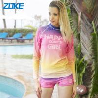 【满300-100元】zoke洲克分体泳衣女韩国长袖防晒保守平角温泉遮肚显瘦运动游泳衣