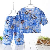 儿童睡衣宝宝薄棉绸套装男女童七分袖人造棉居家服婴儿绵绸空调服