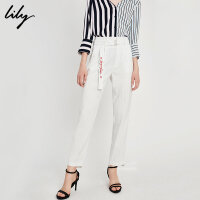 Lily春夏新款女装字母刺绣系带条纹显瘦直筒裤118259C5925