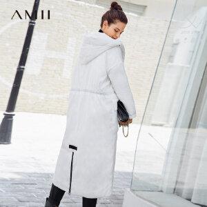 Amii[极简主义]长款保暖外套冬装2017新款宽松90绒连帽羽绒服衣女