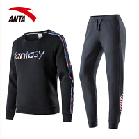 安踏女装运动套装 2018春季新款时尚套头卫衣字母针织卫裤两件套