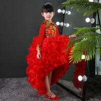 女童走秀模特演出服拖尾裙表演服 儿童礼服女童旗袍公主裙秋季长袖 红色