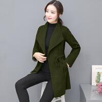 毛呢外套女中长款2017秋冬装新款修身显瘦系带韩版呢子大衣
