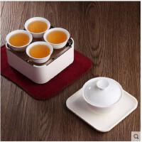 大气精美车载旅行盖碗茶具茶杯套装便携包迷你户外旅游便携功夫茶具白瓷