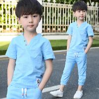 男童夏装新款套装夏季童装中大童男孩短袖两件套棉麻休闲