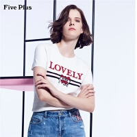 Five Plus女夏装短袖针织衫女字母套头打底衫潮圆领印花图案