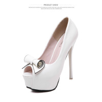 超高跟鞋防水台细跟鱼嘴单鞋韩版漆皮时尚性感蝴蝶结夜店公主女鞋