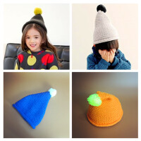 韩版女孩尖尖毛线帽新款宝宝毛球儿童帽子针织帽男童尖尖帽巫师帽