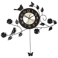 钟表挂钟客厅现代田园欧式时钟静音大号石英钟 黑色
