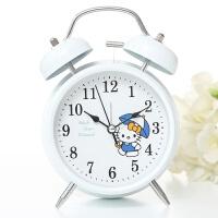 创意静音简约学生床头女男夜灯学生用可爱儿童卡通小闹钟