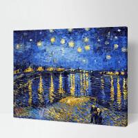 数字油画diy油彩画手工绘世界名画 填色装饰画梵高星空下的罗纳河