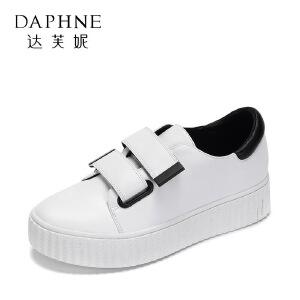 【9.20达芙妮超品2件2折】Daphne/达芙妮 春休闲厚底单鞋 个性魔术贴拼色平底鞋-