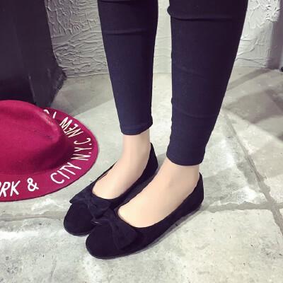ELEISE美国艾蕾莎新品156-002韩版磨砂绒面平跟蝴蝶结女士单鞋