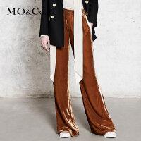 MOCO运动风条纹拼接装饰丝绒阔腿裤MA173PAT111 摩安珂