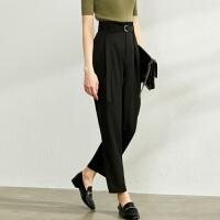 【到手价:140元】Amii极简职业休闲九分裤女2020夏季新款百搭配腰带宽松显瘦直筒裤