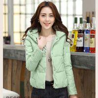 新款韩版修身羽绒女装冬装外套短款轻薄糖果色连帽棉袄潮 2X