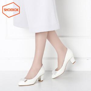 达芙妮旗下SHOEBOX/鞋柜女鞋新款韩版尖头粗跟中跟女鞋