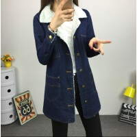韩观冬装新款韩版牛仔外套女中长款修身学生加绒加厚棉衣羊羔毛风衣潮 深蓝色 2X