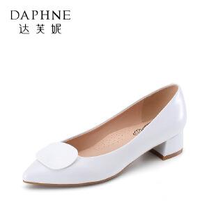 Daphne/达芙妮 杜拉拉春夏浅口尖头时装方跟女单鞋