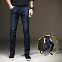 秋季牛仔裤男修身小脚男士大码男装深色长裤子青年韩版潮流 UK907牛仔蓝