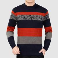 2017秋冬爸爸装毛衣40-50岁中老年条纹圆领羊毛衫中年男士针织衫