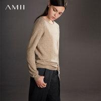 【领券满1000减700】Amii极简100%山羊绒上衣女2018冬新款圆领套头毛衣纯色针织打底衫