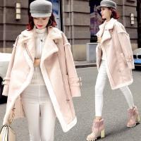 2017女冬装新款时尚翻领皮毛一体仿羊羔毛外套麂皮绒复合毛绒棉衣