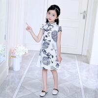 女童连衣裙夏装2018新款洋气童装儿童裙子青花瓷民族风复古旗袍裙