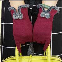 秋冬季触摸屏手套花朵女士开车手套加厚保暖女式短款分指手套