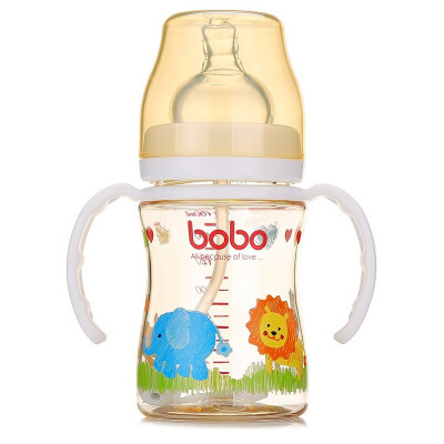 【当当自营】乐儿宝(bobo) PPSU自动宽口径奶瓶160ml 变流量 带手柄 吸管 白色 婴儿奶瓶BP631B-W新老包装替换中