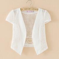 蕾丝小披肩外套女夏季短款百搭薄款坎肩防晒开衫外搭配裙子的上衣 款式一白色 蕾丝款