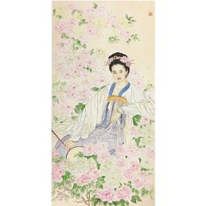 王美芳《花中美人》著名画家